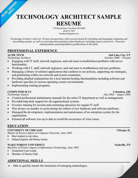 Technology Architect Resume (resumecompanion) #Tech Resume - technology trainer sample resume