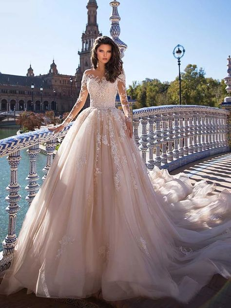 Gorgeous Long Sleeves Lace Sweep Train Tulle Wedding Dresses — Bridelily.com #bridelily#weddingdresses#cheap#ballgown
