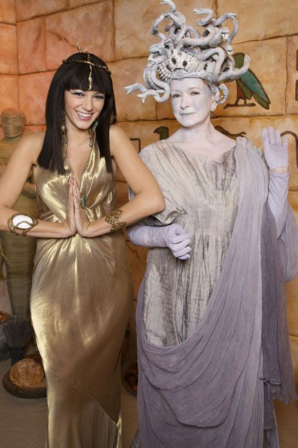 Blake Lively as Cleopatra and Martha Stewart dressed as Medusa pose at The Martha Stewart Show .