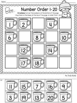 Winter Activities Numbers 1 20 Winter Math For Kindergarten Winter Math Worksheets Kindergarten Math Activities Kindergarten Math Worksheets
