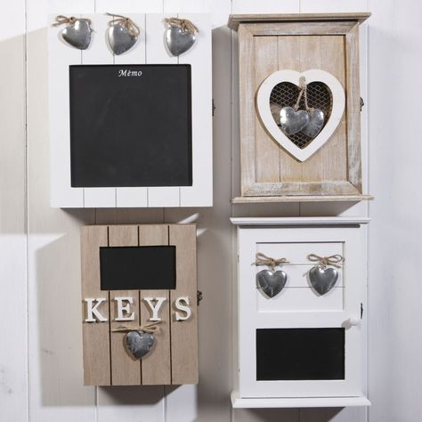 Heart Wooden Shabby Chic Wall Mounted Key Box Cabinet Hallway Home Office Study