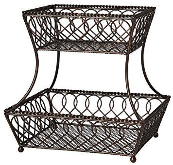 Amazon Com Gourmet Basics By Mikasa 5201553 Loop And Lattice 2 Tier Metal Rectangular Fruit Storage Fruit Storage Gourmet Basics By Mikasa Tiered Fruit Basket