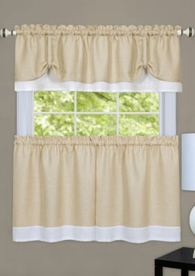 Achim Darcy Window Curtain Tier And Valance Set Tan White