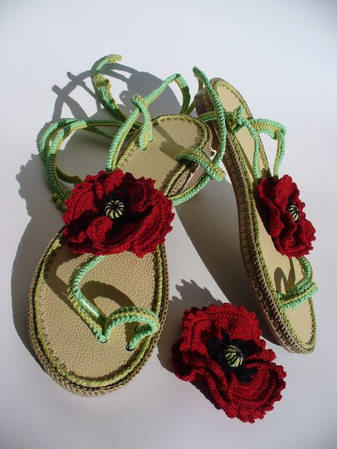 Red Poppies Crochet sandals and brooch