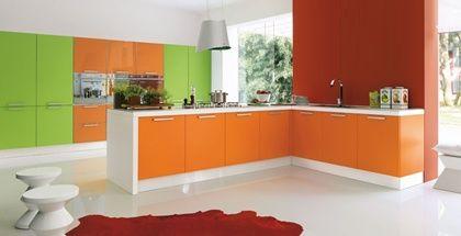 Combinacion De Colores Verde Manzana Y Naranja Para Tu Cocina