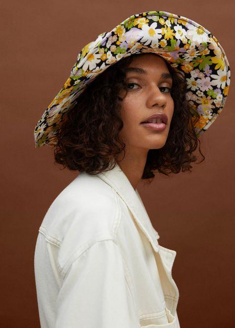 Gorro algodón flores - Mujer | Mango España
