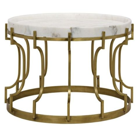 Aldwin Side Table Antique Brass Metal And Quartz Coffee Table