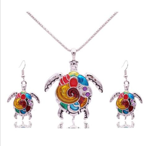 Colorful Turtle Necklace and Earrings Set  Gift Boxed  Fast  Delivery