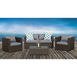Galena 4 Piece Club Chair Patio Conversation Set Modern Bedroom