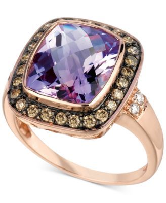Le Vian® Amethyst (4-1/2 ct. t.w.) and Diamond (1/3 ct. t.w.) Ring in 14k Rose Gold