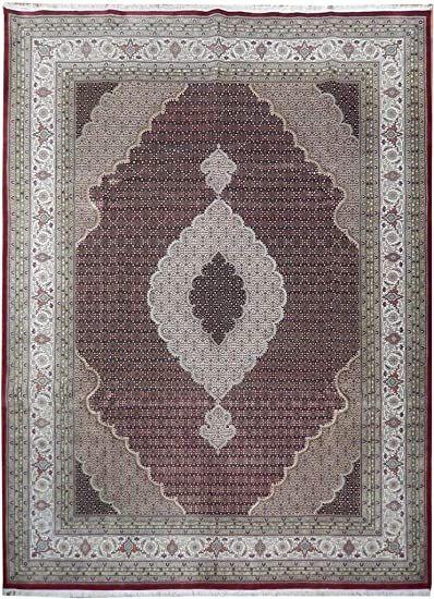 Red Ivory 10 X 13 Handmade Area Rug Woolsilk Tabriz Mahi Fish Rich Design Rug Wool Area Rugs Handmade Area Rugs Rugs
