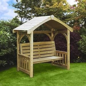 This Traditional Design Seating Area Featuring A Garden Bench With Casing And Roof Makes It A Firm Favourite Wooden Arbor Wooden Garden Benches Garden Seating