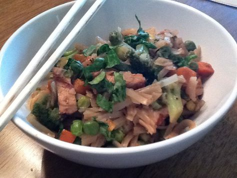 Chicken and Vegetable Brown Rice Noodle Bowl: Here's my healthy answer to greasy, salty, calorific Chinese takeout. I use whole-grain brown rice noodles, lean chicken breast, and loads of veggies (straight from the freezer!) to keep it slim.