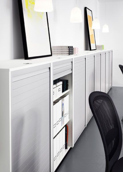 GALANT white roll-front cabinets along a wall | Coworking & Office ...