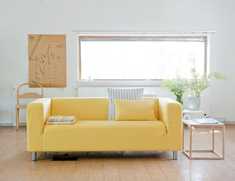 Klippan Sofa From Ikea With A Sun Yellow Cover And Cushion Covers In Gotland Stripe Silver Grey And Sun Ye Dining Room Blue Yellow Living Room Ikea Dining Room