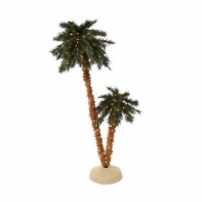 Details About Home Heritage 6 Foot Double Pre Lit Palm Trees With