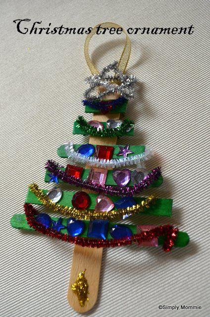 Christmas tree ornamenet craft idea with plain and green coloured lolly sticks