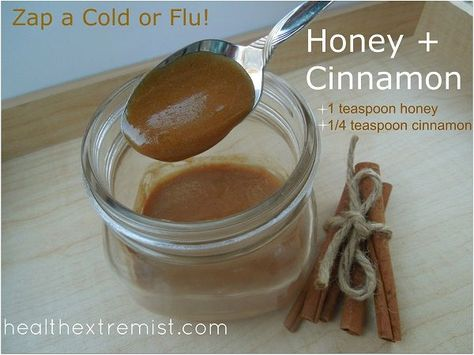 Mixture of honey and cinnamon for colds is an easy way to prevent or reduce the symptoms of a cold or virus. Natural remedy of honey and cinnamon for colds