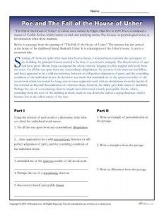 Edgar Allan Poe Reading Worksheet | reading | Reading ...