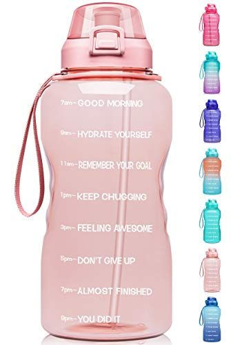 Leakproof Tritan BPA Free for Fitness Purple to Pink Large 1 Gallon Water Bottle with Time Marker Motivational /& Straw Outdoor Sports and Work Gym