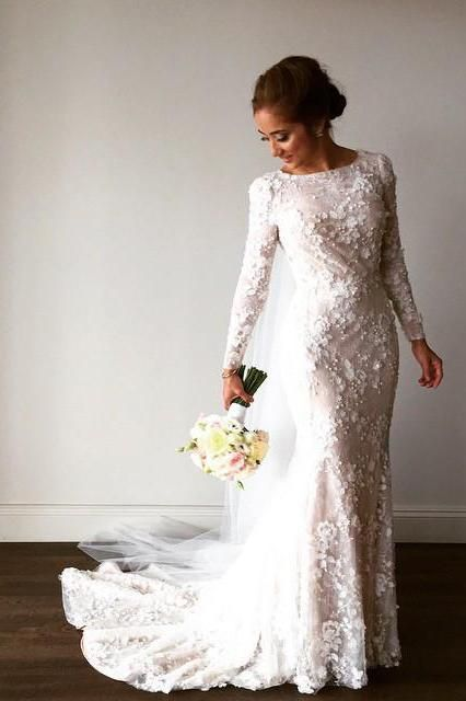 Unique Long Sleeve Mermaid Lace Wedding Dresses With Beads