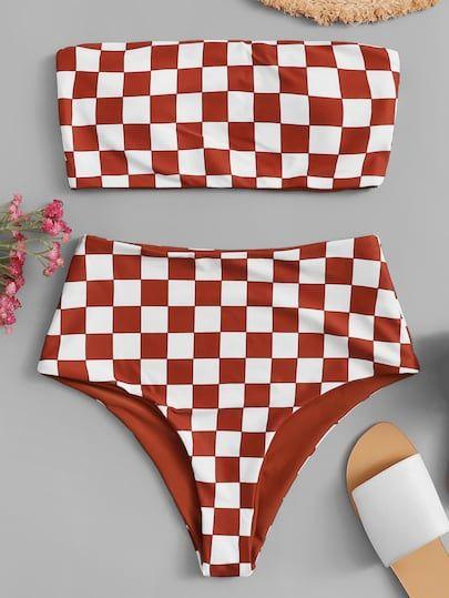 Shop Checker Bandeau With High Waist Bikini Set online. SHEIN offers Checker Bandeau With High Waist Bikini Set & more to fit your fashionable needs.
