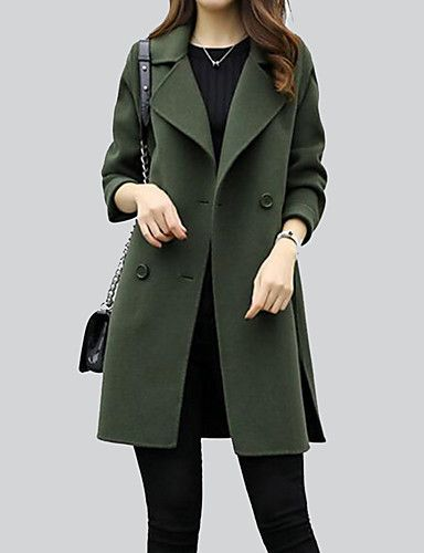 Women's Going out Simple Winter Fall Coat,Solid Shirt Collar