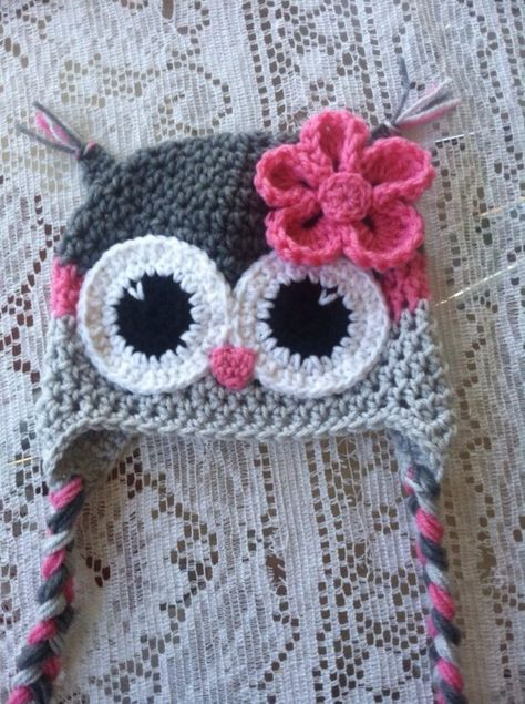 grey and pink owl hat by MarysMoxee on Etsy Crochet Owl Hat, Crochet Baby Hat Patterns, Crochet Kids Hats, Crochet Baby Clothes, Crochet Gifts, Crochet Yarn, Crochet Stitches, Knitted Hats, Booties Crochet