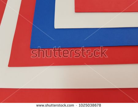 Abstract With Sheets Of Plastic In Colours Blue Red And White
