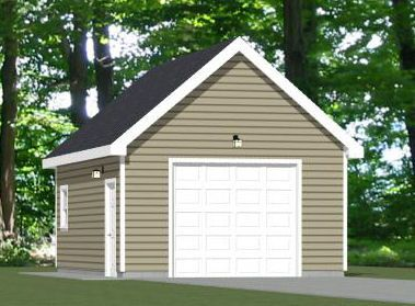 16x24 1 Car Garage 16x24g7f 384 Sq Ft Garage Plans Garage Floor Plans