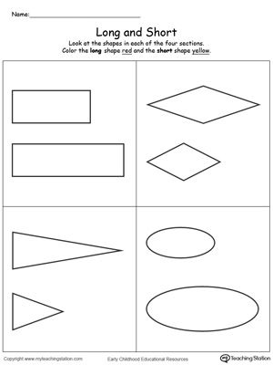 Long And Short Shapes Preschool Counting Worksheets Teacher Worksheets Math Preschool Worksheets