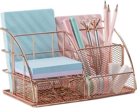 School Desk Organization, Desktop Organization, Stationary Organization, Bedroom Desk, Room Ideas Bedroom, Gold Bedroom, Small Room Bedroom, Cute Office Decor, Cute Desk Decor
