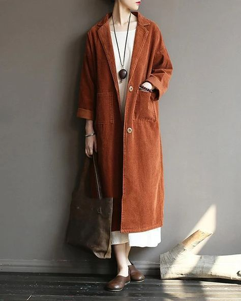 Lapel Solid Color Long Sleeve Corduroy Vintage Long Coat – Prilly outwear fashion outwear jacket warm coat outfit coats for women #fallcoats#warm#casualcoats