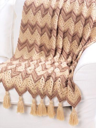 Ripple Beige Afghan | Yarn crochet freebie, lovely autumnal colours, thanks so xox