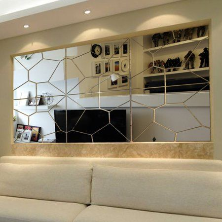 21pcs Removable Non Toxic 3d Diy Acrylic Flexible Self Adhesive Wall Mirror Tile Mirror Sheets Mirror Decal Art Mural Wall Sticker Home Living Room Restaurant C Wall Stickers Home Mirror Wall Stickers