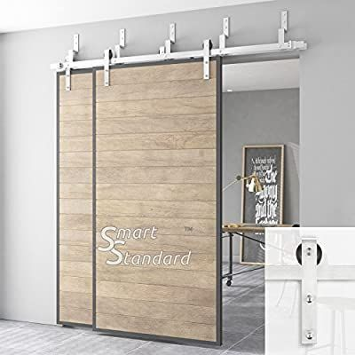 Amazon Com Smartstandard 6 6ft Heavy Duty Bypass Sliding Barn Door Hardware Kit Double Rail Stainless Barn Doors Sliding Double Sliding Barn Doors Barn Door