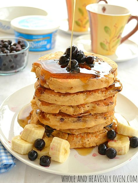 Ricotta cheese makes these blueberry pancakes unbelievably light and melt-in-your mouth. They're so easy, yet so elegant and impressive. — A perfect Mother's Day breakfast! | wholeandheavenlyoven.com
