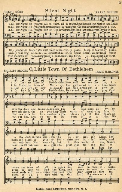 """Christmas Sheet Music - """"Silent Night"""" and """"O Little Town of Bethlehem"""" (Note from previous pinner: printable Christmas music pages) Christmas Sheet Music, Noel Christmas, Christmas Wrapping, Christmas Projects, Christmas Ideas, Free Christmas Cards, Christmas Lyrics, Christmas Night, Christmas Books"""