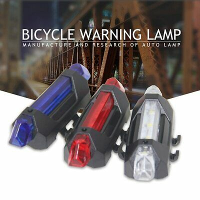 5 LED Bike Tail Light Portable USB Rechargeable Safety Warning Cycling Rear Lamp