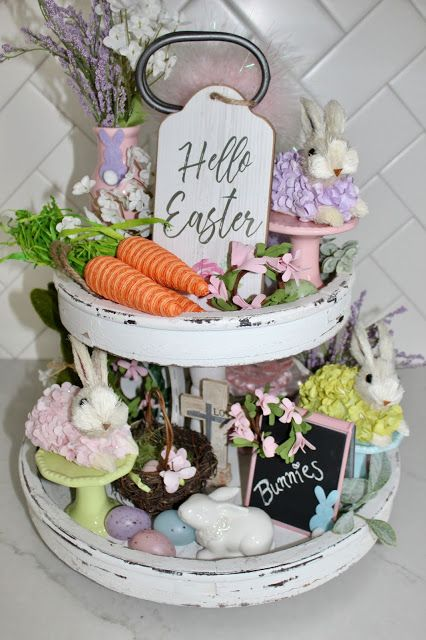 EASTER TIERED TRAY decorating a tiered tray Easter decorations home decorations farmhouse decor modern farmhouse tiered tray Easter Cake Stand Decor, Tray Decor, Easter Cake Stand, Diy Osterschmuck, Mason Jars, Diy Easter Decorations, Easter Centerpiece, Table Decorations, Spring Home Decor