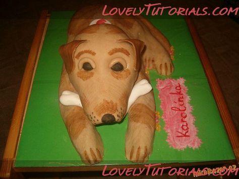 carved 3D dog cake tutorial