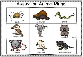 Australian Animal Bingo Game Australian Animals Bingo Bingo Games