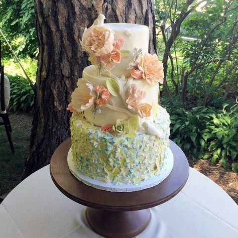 Beautiful Garden of Hand Painted Flowers Tiered Cake