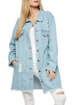 e1c5fad406479 Distressed Embroidered Long Line Denim Jacket - 1075069392154 | Christmas |  Lined denim jacket, Jackets, Denim