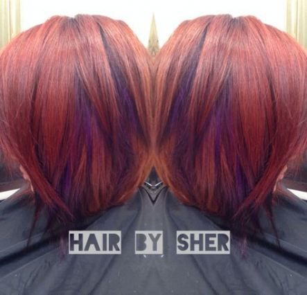 48 Ideas Hair Color Red Purple Haircuts Color Hair Haircuts Ideas Purple Red Purple Hair Red Hair With Highlights Short Hair Color