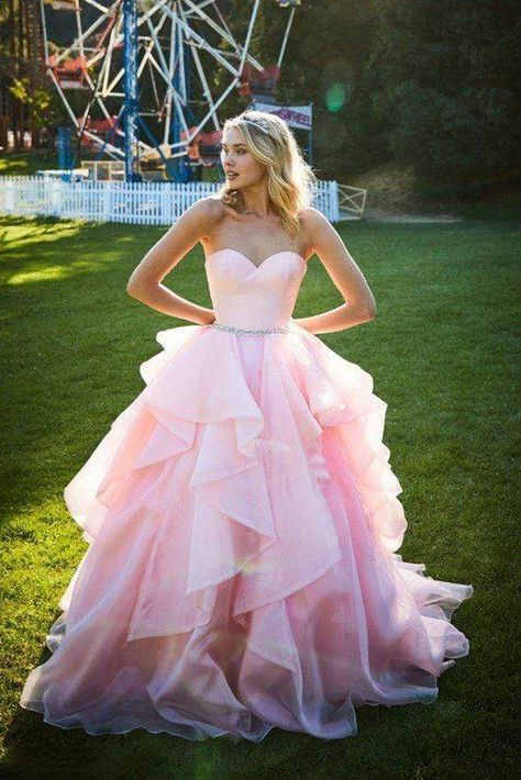 Turn heads as you walk by in this entrancing Sherri Hill 51701 creation. Designed with a strapless satin bodice, this gown flourishes a sweetheart neckline paired with a mid-open back. Crusted with jewels around the waist, tiers of lush organza cascades into a dramatic ballgown silhouette and a trailing train. Walk into the room and become the center of attention in this Sherri Hill masterpiece. Models are wearing the Blush, Ivory and Navy colors. Style: sher_51701 Details: Strapless, Satin Bodi Prom Dresses Long Pink, Pretty Prom Dresses, Pink Wedding Dresses, Sweet 16 Dresses, Wedding Dresses Plus Size, Ball Dresses, Beautiful Dresses, Blush Prom Dress, Pink Formal Dresses