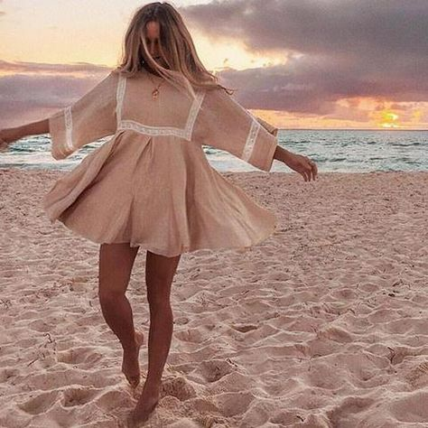 Boho Patchwork Lace Dress O-Neck Kimono – TopFashionova