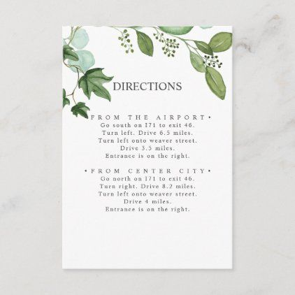 Hedera Ivy Leaves Chic Wedding Directions Enclosure Card Zazzle Com Wedding Directions Chic Wedding Wedding Cards