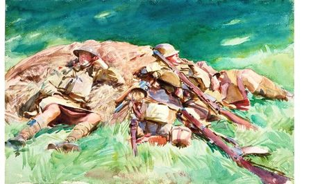 John Singer Sargent (USA, - Highlanders Resting at the Front - 1918 - watercolor - Fitzwilliam Museum - University of Cambridge