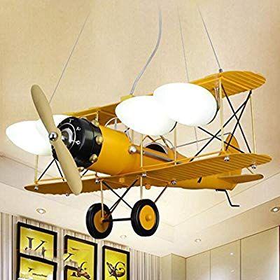 Sf Retro Kinderzimmer Junge Schlafzimmer Lampe Flugzeug Lampe Raum Kronleuchter Kreative Personlichkeit Led Lampen Gelb Amazon De Beleuch Decoracion De Unas